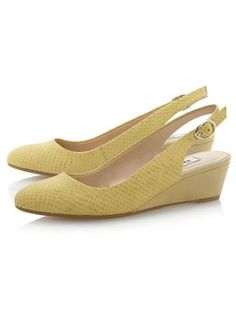 Dune Consort sling back wedge court shoes Yellow - House of Fraser Great colour and texture and look comfortable too!