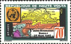 Postage stamps of burkina faso | features a meteorological map of part of burkina faso and the logo of ..