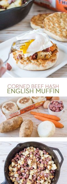 Corned Beef Hash English Muffin: If you're craving comfort food, top your Thomas' Original English Muffin with this Corned Beef Hash and a poached egg. Our classic recipe is made with corned beef, potatoes, onion and carrots.