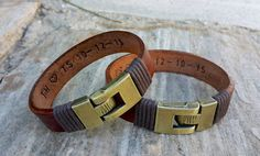 Couples Personalized Hidden Message Brown Leather Bracelet His Hers Leather Jewelry Secret Message Boyfriend Gift for Christmas Fiance Gift