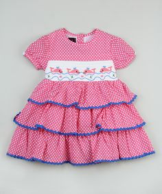 Another great find on #zulily! Pink Polka Dot Whale Smocked Dress - Kids by Lil Cactus #zulilyfinds