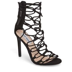 Women's Steve Madden Mayfair Latticework Tall Sandal (€65) ❤ liked on Polyvore featuring shoes, sandals, black, black stiletto sandals, black shoes, black stilettos, open toe sandals and black lace up sandals