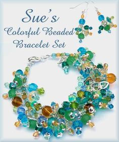 Fun & Colorful - custom beaded jewelry bracelet set by Jades Creations Jewelry