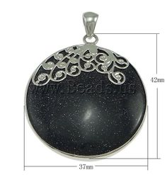 Blue Goldstone Pendants, Zinc Alloy, with Blue Goldstone, Flat Round, platinum color plated, nickel, lead & cadmium free, 37x42x6mm - beads.us