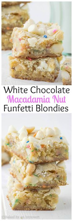 White Chocolate Chip Macadamia Nut Funtetti Cookies - Soft, chewy, and buttery blondies loaded with white chocolate chips and macadamia nuts.