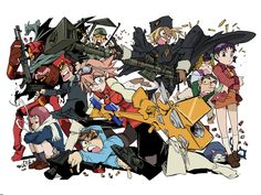 FLCL , Furi Kuri , Fooly Cooly , the original animation written by Yoji Enokido and manga written by Hajime Ueda is a science fiction series. Me Anime, Manga Anime, Anime Art, Flcl Manga, Mirai Nikki, Furi Kuri, Anime Amino, Character Art, Character Design