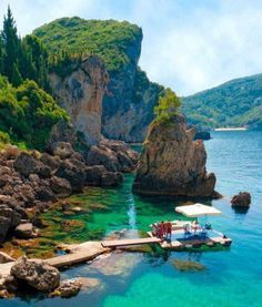 Beautiful La Grotta Cove, Corfu Island, Greece