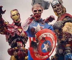 Not even planet Earth's mightiest heroes are a match for the dreaded and fast approaching zombie apocalypse. These gruesome Marvel superhero action figures portray our favorite heroes as ravenous, flesh-eating zombies in extraordinary detail.