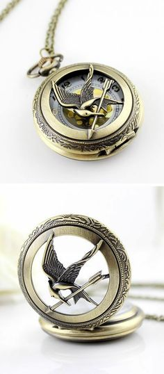 Pocketwatch Necklace ♥ Just like the one Plutarch should have had in the movie. Yep, still annoyed about it. Repin & Follow my pins for a FOLLOWBACK!