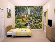 Fotobehang Posterbehang posterbehang kinderkamer Dieren in het bos. Fotobehang. inrichting slaapkamer speelzaal. - Kinderkamerdecoratie.nl