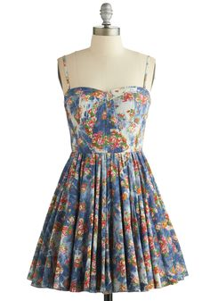Plaza Picnic Dress. Enjoy an outdoor lunch in the square dressed in this delightful floral dress! #blue #modcloth