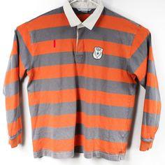 265156eb Vintage NIKE Rugby Shirt Mens Gray Orange Striped Polo Winter League Size  XL #fashion #