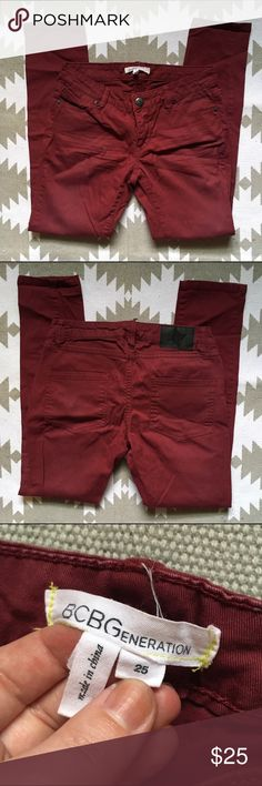 BCBG Generation red skinny jeans - 25 Size 25. Dark red skinnies. Great shape no fading or stains. BCBGeneration Jeans Skinny