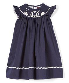Love this Dark Blue Nativity Smocked Bishop Dress - Infant, Toddler & Girls on #zulily! #zulilyfinds