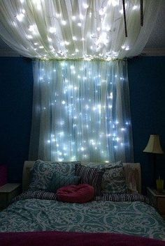 Twinkle lights and fabric bed canopy