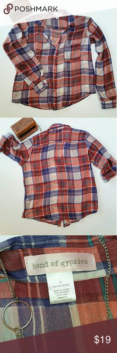 Band of Gypsies plaid long sleeve button down Red, blue and white plaid button down Polyester shirt from Band of Gypsies. Sheer & lightweight. Great for travel! No holes, stains or pilling. Very good condition. Comes from a smoke free, dog-friendly home. Band of Gypsies Tops Button Down Shirts