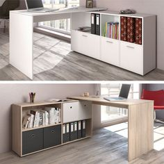 Create a pull out office in any spare space you have with this amazing idea for a side board with a top part that pulls out into a desk