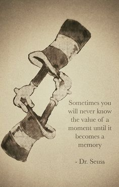 Dr. Seuss~ sometimes you will never know the value of a moment until it becomes a memory.
