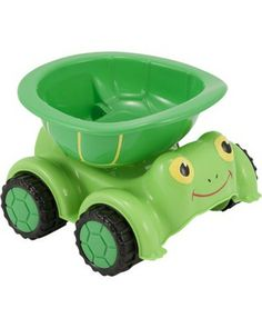 This terrific turtle dump truck makes building a sand castle a breeze! During the off-season, your child can use it to give dolls and action figures a fun ride. Click above to buy one!