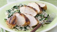 Grilled Curry Chicken Breasts with Spinach Rice. Ready in 30 min. Total Cost: $7.66