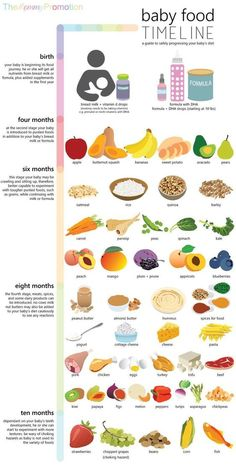 Baby Food Timeline – Allowed Foods for Baby, Birth to 10 Months - baby feeding chart Baby Puree, Baby Monat Für Monat, Baby Feeding Chart, Feeding Baby Solids, Healthy Baby Food, Food Baby, Baby First Foods, Baby First Food Chart, Baby Led Weaning First Foods