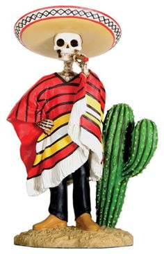 Bandito Wearing Sombrero Day of Dead, dia de los muertos skeletons, day of the dead figures, skull statues, day of the dead skulls, Mexican skull art