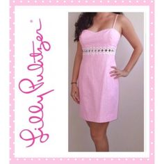 SALE❗️NWT Lilly Pulitzer Sheena Dress 6 This size 6 NWT Lilly Pulitzer Sheena pink seersucker dress with cutouts is a fun & flirty style. Spaghetti Strap & back zipper.  Pink stripes with subtle good metallic. 79% Cotton, 20% Polyester, 1% Metallic. Retail $198. 10% off bundles❗️  Lilly Pulitzer Dresses Mini