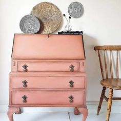 Beautiful vanity painted by Maisies House Vintage with Chalk Paint® by Annie Sloan in Scandinavian Pink - gorgeous!