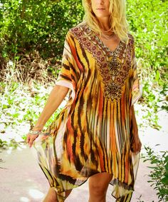 Look what I found on #zulily! Gold & Black Sheer Abstract V-Neck Tunic #zulilyfinds