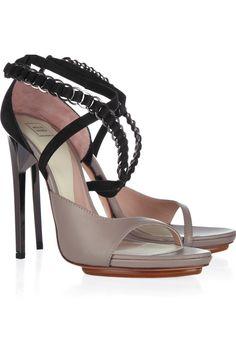 Hervé Léger - Reidd Suede and Leather Sandals