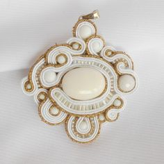 Soutache Charm Ancient Rome with white agate