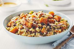 Cook with Campbells. Curried Quinoa Salad with Sweet Potato and Mint Mint Recipes, Sugar Free Recipes, Summer Recipes, New Recipes, Cooking Recipes, Favorite Recipes, Healthy Recipes, Recipies, Salad With Sweet Potato