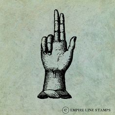 Hand with Two Fingers Pointing Upwards  by EmpireLineStamps