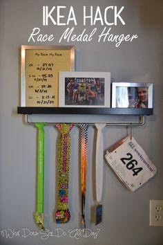 IKEA Hack: Race Medal Hanger and Shelf #ikea #running #racing                                                                                                                                                     More Runner Medal Display, Display Medals, Ticket Display, Hanging Medals, Trophy Display, Award Display, Race Bib Display, Running Medal Displays, Running Bib Display