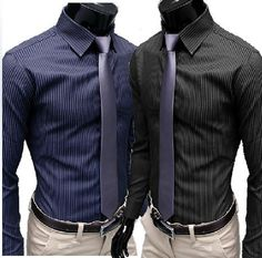Men's Stripe Stylish Long Sleeve Dress Shirts – eDealRetail