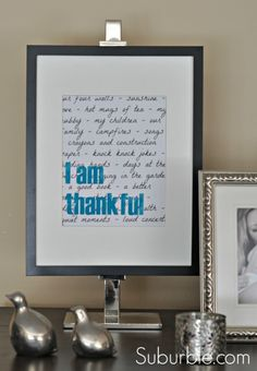 Love this!!  Must do for Thanksgiving!  I am Thankful art by @Tara @ Suburble