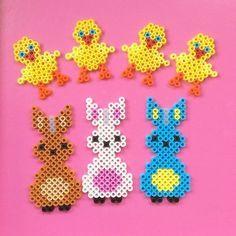 Easter hama perler beads by kreajoan Perler Beads, Fuse Beads, Bunny Crafts, Easter Crafts, Crafts For Kids, Iron Beads, Melting Beads, Pearler Bead Patterns, Bead Art