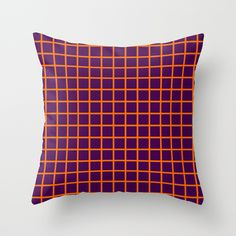 Orange On Purple Grid - Pattern Throw Pillow