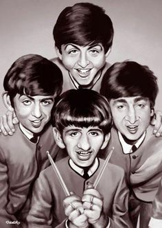 Ideas Music Cartoon Art The Beatles Foto Beatles, Les Beatles, Beatles Art, Funny Caricatures, Celebrity Caricatures, Cartoon Kunst, Cartoon Art, Cartoon Faces, Funny Faces