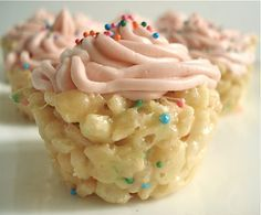 Cake Batter Rice Krispie Cupcakes. Seriously. Could be fun to send these to school for birthdays!