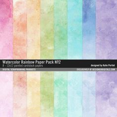 Watercolor Rainbow Paper Pack No. 02 painted papers in a bright color palette #designerdigitals
