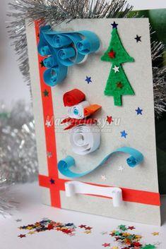 Новогодние поделки с детьми. Открытка Снеговик