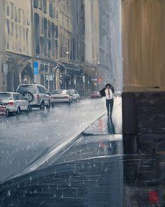Mike Barr - Rain on Flinders Lane (Melbourne Australia) Melbourne Australia, Australia Travel, Melbourne Weather, Surf, The Joy Of Painting, Australian Artists, Watercolor Techniques, City Art, Rainy Days