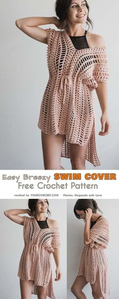 Easy Breezy Swim Cover Free Crochet Pattern #freecrochetpatterns #summerstyle #crochetswimcover #beachwear