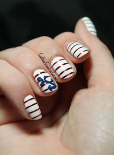50 Cool Anchor Nail Art DesignsThere are a lot of symbolic meanings associated with anchor, an iconic maritime symbol. An anchor is usually used to moor a vessel to the sea bottom, . Anchor Nail Designs, Anchor Nail Art, Nautical Nail Art, Blue Nail Designs, Pretty Nail Art, Beautiful Nail Designs, Nautical Theme, Triangle Nail Art, Geometric Nail Art