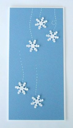 I have a snowflake punch, so this wouldn't be too hard. Christmas Party Themes, Christmas Card Crafts, Homemade Christmas Cards, Merry Christmas Card, Christmas Cards To Make, Christmas Greeting Cards, Christmas Art, Greeting Cards Handmade, Homemade Cards