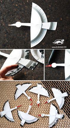 Čápy z papírovích talířků