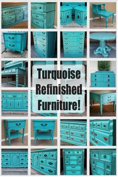 Furniture Refinished in Turquoise! Our multi-page collection will inspire your next DIY project!
