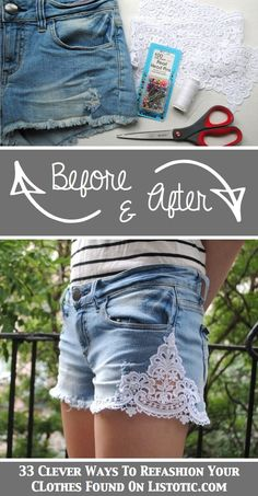 33 Clever Ways To Refashion Clothes (With Tutorials) 2019 33 Clever Ways To Refashion Clothes (With Tutorials) This lace one would be cute on a pair of capris. The post 33 Clever Ways To Refashion Clothes (With Tutorials) 2019 appeared first on Lace Diy. Sewing Clothes, Diy Clothes, Refashioned Clothes, Clothes Refashion, Look Fashion, Diy Fashion, Fashion Ideas, Fashion Clothes, Diy Pantalon