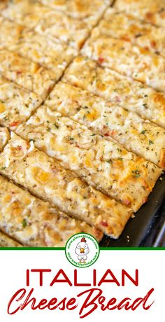 Italian Cheese Bread - so easy and ready to eat in 15 minutes! Pizza dough topped with Italian dressing, parmesan cheese, garlic, oregano, thyme, and mozzarella, Great as a dinner side dish or dipped in warm pizza sauce for an appetizer. #bread #mozzarella #italian Italian Side Dishes, Dinner Side Dishes, Dinner Sides, Side Dishes Easy, Italian Cheese Bread, Italian Bread Recipes, Amish Recipes, Plain Chicken Recipe, Chicken Recipes
